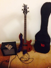 Dean 4 string bass guitar and amp plus extras